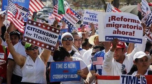 Crowds of iImmigrants protest in favor of comprehensive immigration reform on West side of Capitol Hill in Washington