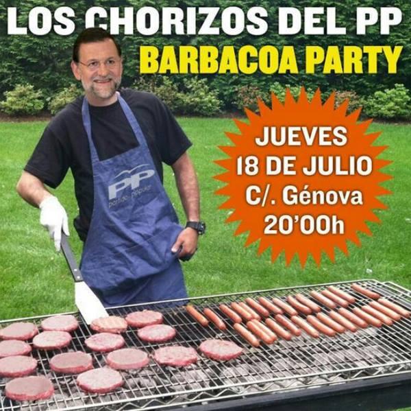 chorizos del PP-barbacoa party-15M-indignados-corrupcion del PP