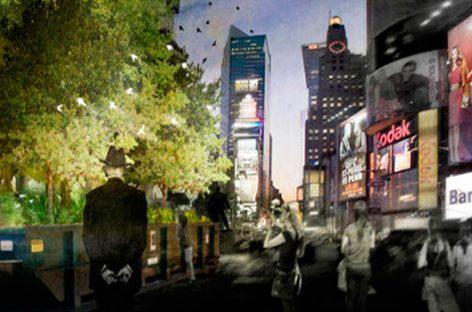 Un pequeño bosque en Times Square