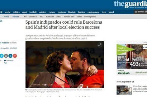 """La prensa mundial destaca la llegada de los """"indignados"""" a Madrid y Barcelona"""