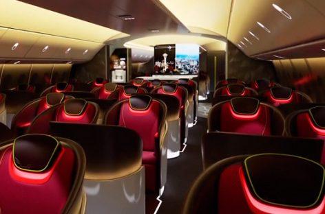 El avión del futuro proyectará imágenes en el techo y las paredes