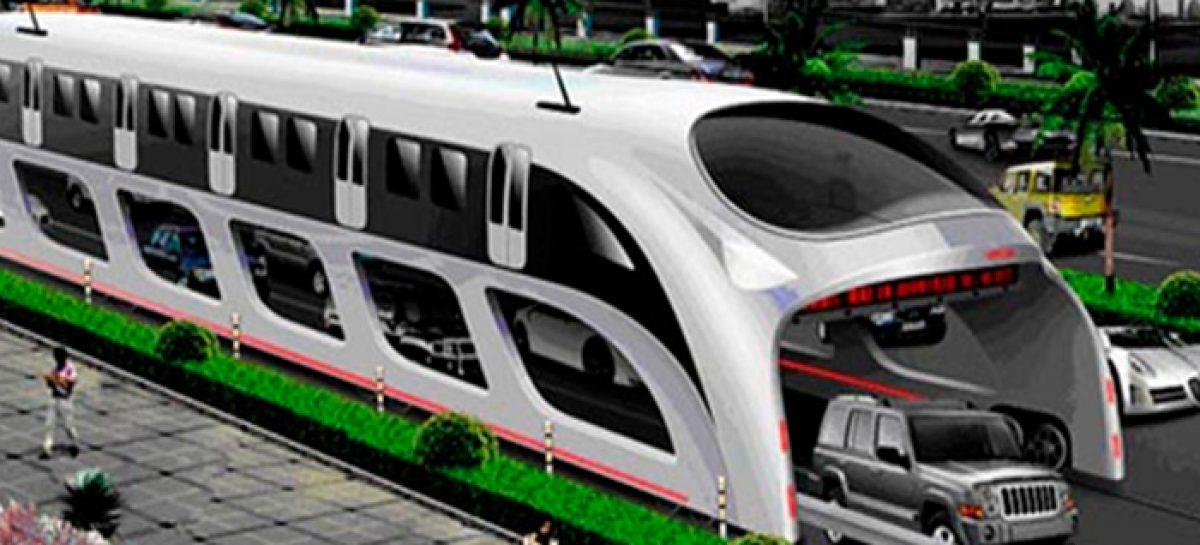 El autobús gigante chino que se podrá elevar por encima de los atascos