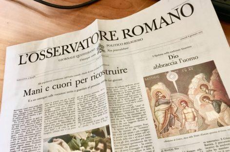 """L'Osservatore Romano revindica una narración más humana """"crear relatos bellos, verdaderos y buenos"""""""